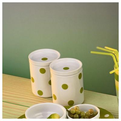 Kütahya Porselen 9 Cm Kapaklı  Yeşil Baharatlık
