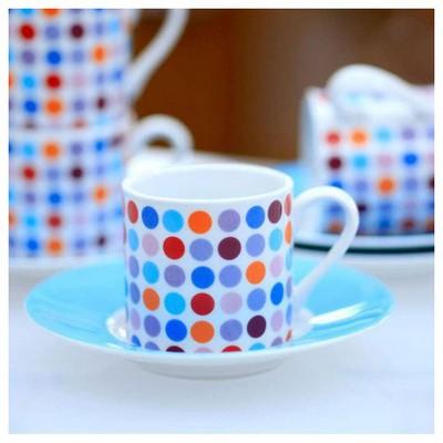 Kütahya Porselen Noktalı 4 Kişilik Kahve Fincan Takımı Çay Seti