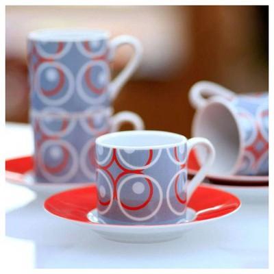 Kütahya Porselen Halkalı 4 Kişilik Kahve Fincan Takımı Çay Seti