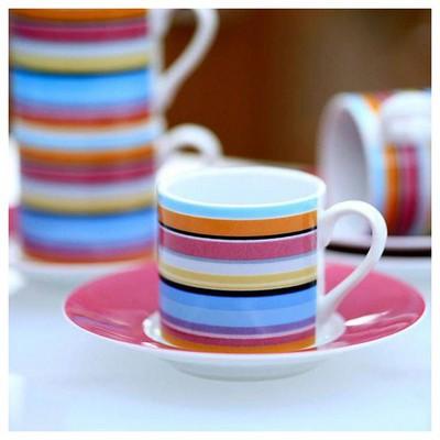 Kütahya Porselen Yatay Çizgili 4 Kişilik Kahve Fincan Takımı Çay Seti