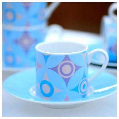 Kütahya Porselen Yıldızlı 4 Kişilik Kahve Fincan Takımı Çay Seti