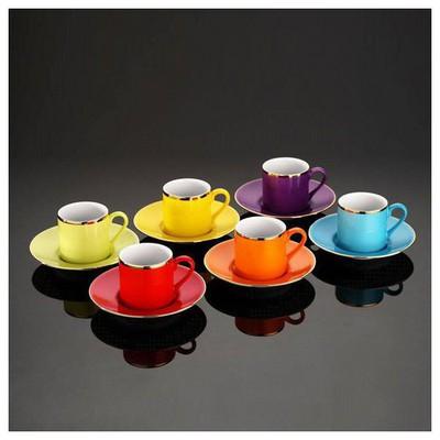Kütahya Porselen Rüya Renkli Kahve Fincan Takımı Çay Seti