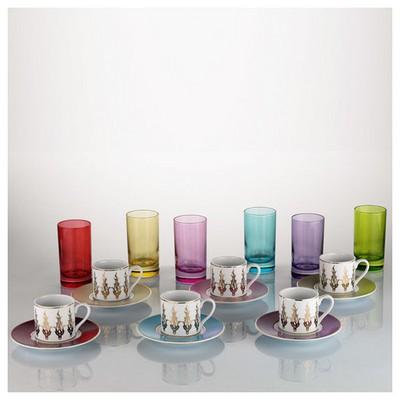 Kütahya Porselen Rüya 18 Parça 6592 Desen Kahve Fincan Takımı Çay Seti