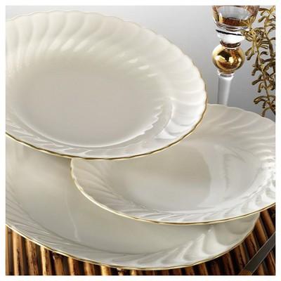 Kütahya Porselen Selyum Fileli 24 Parça Krem Yemek Seti Yemek Takımı