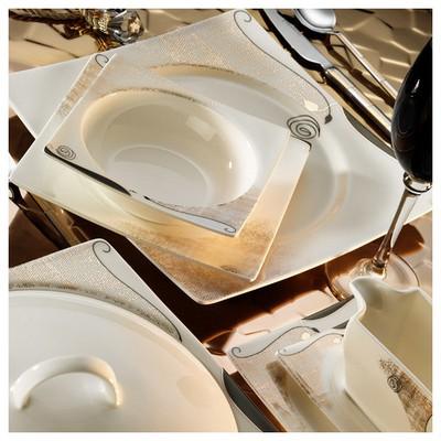 Kütahya Porselen Square Bone 84 Parça 65105 Desenli Yemek Takımı