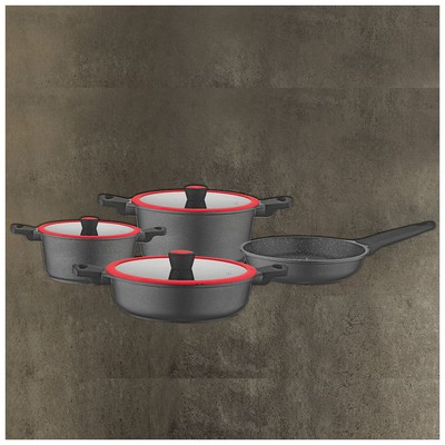 Kütahya Porselen Caprice 7 Prç Alüminyum Döküm Tencere Seti Tava