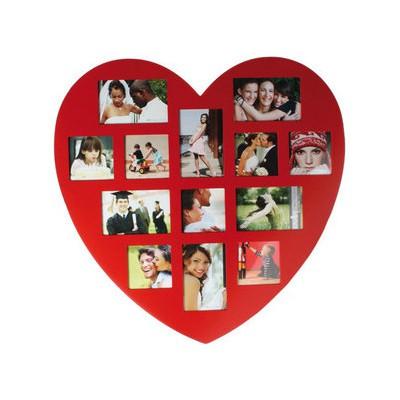 Kütahya Porselen Kırmızı Kalp Ahsap Fotoğraflık Ev Gereci