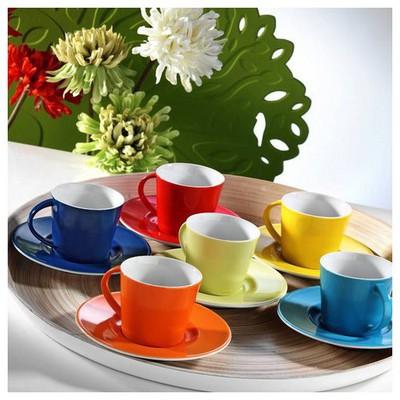 Kütahya Porselen Toledo Renkli Kahve Fincan Takımı Çay Seti