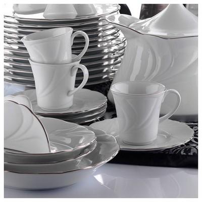 Kütahya Porselen Troya Platin File Çay Fincanı Tabaklı Çay Seti