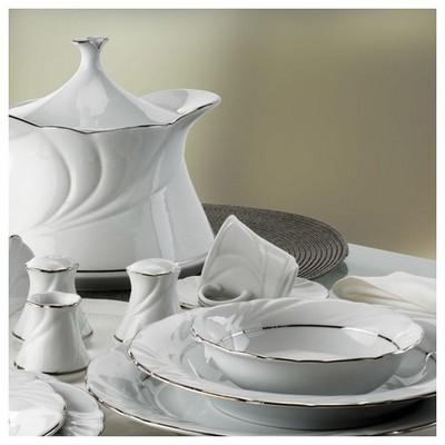 Kütahya Porselen Troya 77 Parça Platin Fileli Yemek Takımı