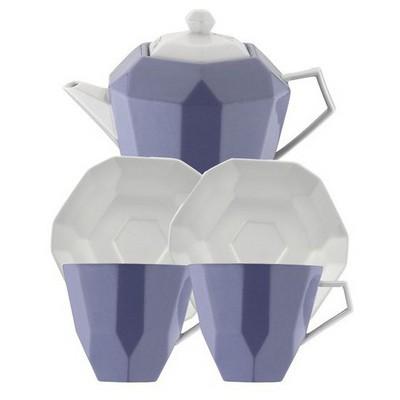 Kütahya Porselen 6 Parça  Mor Çay Seti