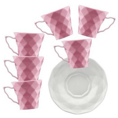 Kütahya Porselen 12 Parça Kahve Takımı Pembe Çay Seti