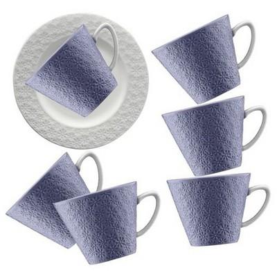 Kütahya Porselen 12 Parça Kahve Takımı Mor Çay Seti