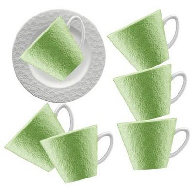 Kütahya Porselen 12 Parça Kahve Takımı Yeşil Çay Seti