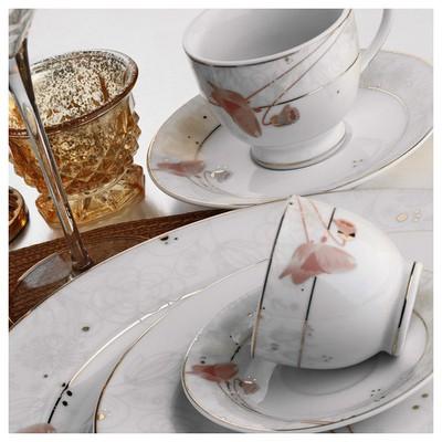 Kütahya Porselen Yasemin 10131 Desen Çay Fincanı Tabaklı Çay Seti