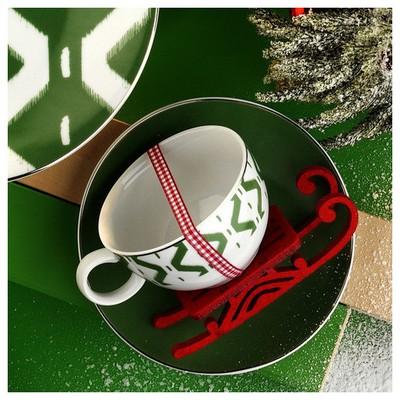 Kütahya Porselen 12 Parça Çay Takımı Yeşil Çay Seti