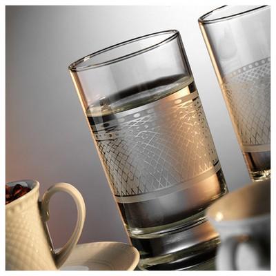 Kütahya Porselen Zümrüt 6 Kişilik Su Bardaklı Kahve Fincan Takımı Çay Seti