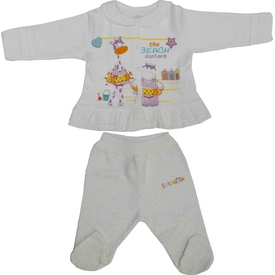 Aziz Bebe 2616 Kız Bebek 2 Li Takım Ekru 3-6 Ay (62-68 Cm) Kız Bebek Takım
