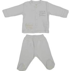 Aziz Bebe 2621 Kız Bebek 2 Li Takım Ekru 3-6 Ay (62-68 Cm) Kız Bebek Takım