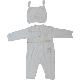 Aziz Bebe 6363 Kız Bebek Tulum Ekru 6-9 Ay (68-74 Cm) Bebek Tulumu