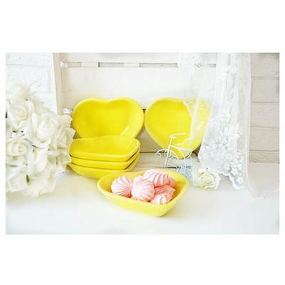 Keramika Cerezlık Kalp 13 Cm Sarı 100 Çerezlik