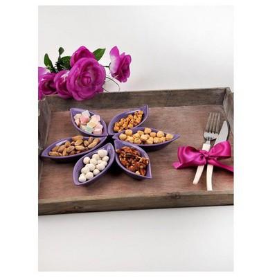 Keramika Cerezlık Sosluk Yaprak 12 Cm Mor 501 Çerezlik