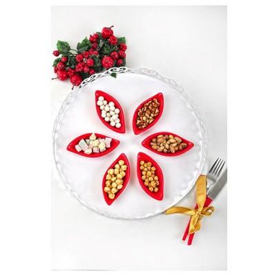 Keramika Cerezlık Sosluk Yaprak 12 Cm Kırmızı Bayrak 506 Çerezlik