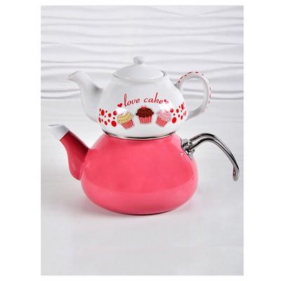 Keramika Set Cay 2 Parca Fruıt Cake Çay Seti