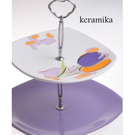 Keramika Set Meyvelık Kosem 2 Katlı Tulıp Küçük Mutfak Gereçleri