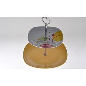 Keramika Set Meyvelık Karem 2 Katlı Rengarenk Servis Gereçleri