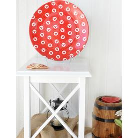 Keramika Ege Servıs 25 Cm Beyaz 004 Full Keyf -- Kırmızı-dolu Kalp 25 Cm Ege  A Tabak
