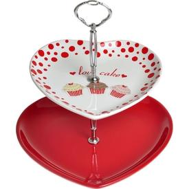 Keramika Set Meyvalık Kalp 2 Katlı Beyaz004-kırmızı 506 Fruıt Cake A Küçük Mutfak Gereçleri