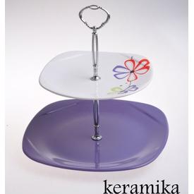 Keramika Set Meyvalık Karem 2 Katlı Beyaz 004-mor 501 Mor 501+ Vena A Meyvelik