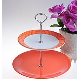 Keramika Set Meyvalık Ege 2 Katlı Beyaz 004-turuncu 200 Strıpe Turuncu A Servis Gereçleri