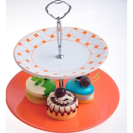 Keramika Set Meyvalık Ege 2 Katlı Beyaz 004-turuncu 200 Hasır Turuncu A Sofra Gereçleri
