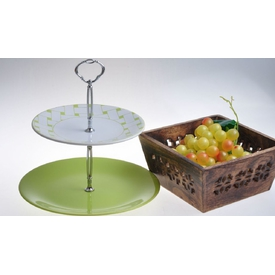 Keramika Set Meyvalık Ege 2 Katlı Beyaz 004-yesıl 302 Hasır Yesıl A Servis Gereçleri