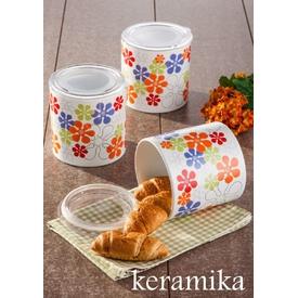 Keramika Set  Ege 12 Cm 3 Parca Beyaz 004 Renklı Trend A Saklama Kabı