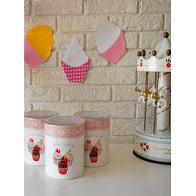 KeramIka Set Saklama Kabı Ege 12 Cm 3 Parca Beyaz 004 Pınk Cake A