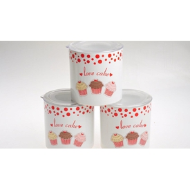 Keramika Set  Ege 12 Cm 3 Parca Beyaz004-kırmızı 506 Fruıt Cake A Saklama Kabı
