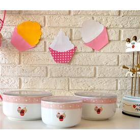 Keramika Set  Kera 3 Parca Beyaz 004 Pınk Cake A Saklama Kabı