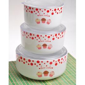 Keramika Set  Kera 3 Parca Beyaz 004 Fruıt Cake A Saklama Kabı