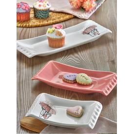 Keramika Set Kayık Selen 18-24-33 Cm 3 Parca Beyaz 004-pembe 550 Pınk Love Keramıra A Yemek Takımı