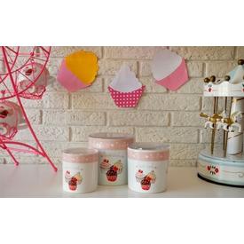 Keramika Set  10-10-12 Cm 3 Parca Beyaz 004 Pınk Cake A Saklama Kabı