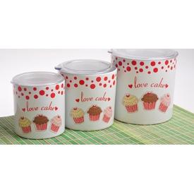Keramika Set  10-10-12 Cm 3 Parca Beyaz 004 Fruıt Cake A Saklama Kabı
