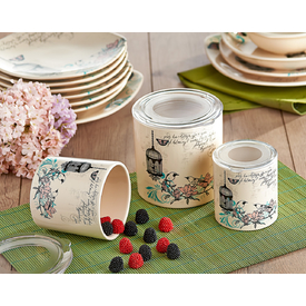 Keramika Set  10-10-12 Cm 3 Parca Krem 030 Retro A Saklama Kabı