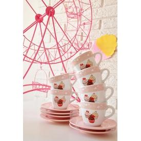 Keramika Takım Cay Yedı Tepe 12 Parca Beyaz 004-pembe Acık 551 Pınk Cake A Çay Seti