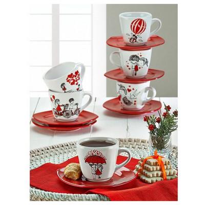 Keramika Takım Cay Yedı Tepe 12 Parca Beyaz 004-kırmızı 506 Red Love Keramıra A Çay Seti