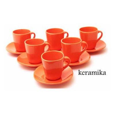 Keramika Takım Cay Yedı Tepe 12 Parca Turuncu 200 Çay Seti