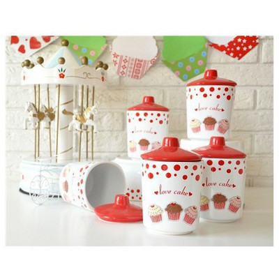 Keramika Takım Baharat Kosem 8 Cm 10 Parca Beyaz004-kırmızı 506 Fruıt Cake A Baharatlık