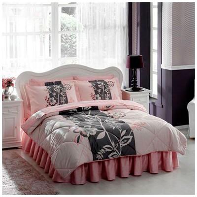 Taç Paulin Saten Uyku Seti Çift Kişilik - Pembe Ev Tekstili